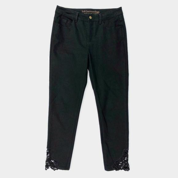 Soft Surroundings Denim - Soft Surroundings Lace Slim Ankle Jeans Black 8